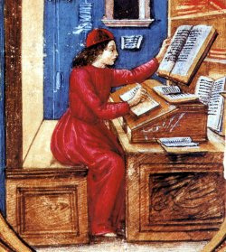 Moine copiste du Moyen-Âge.