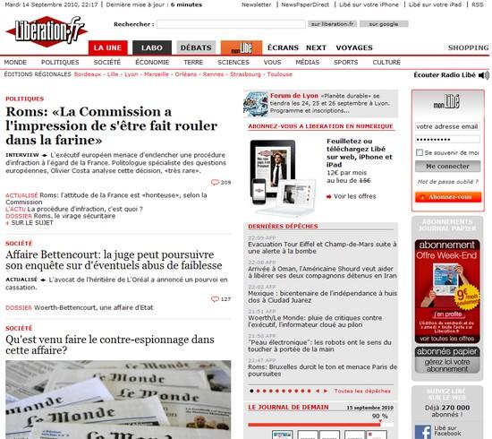Une de Libération, 14/09/10