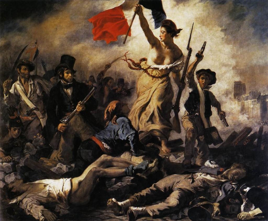 La Liberté guidant le peuple par Delacroix (Image libre de droits)