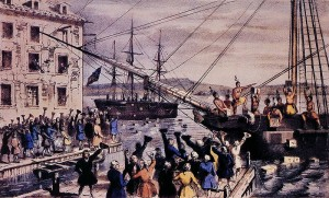 Illustration de la Boston Tea Party originelle américaine