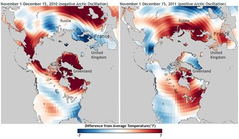 Comparaison des anomalies de température sur l'hémisphère Nord, sur la même période, deux années consécutives (source: NOAA Climate Service ).