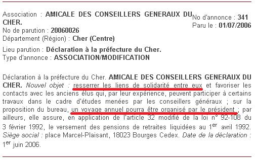 Status de l'Amicale CG18