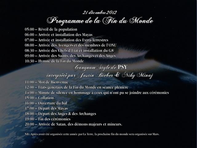 programme officiel de la fin du monde