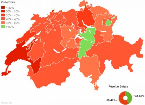 L'initiative pour les familles est rejetée par presque tous les cantons (infographie Le Matin / Newsnet)