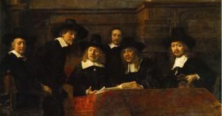 Le Syndic de la guilde des drapiers par Rembrandt Bourgeois Hollande (Image libre de droits)