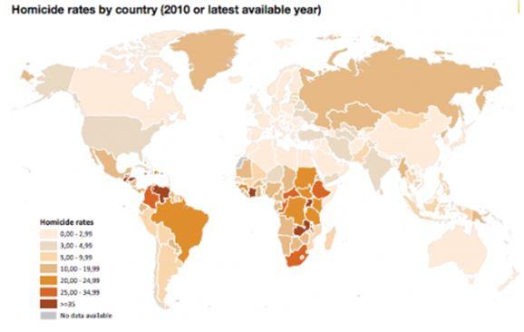 Pays les plus violents au monde