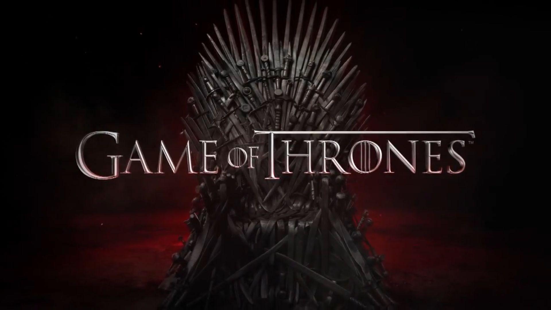 Affiche de la série Game of Thrones représentant le trône construit en armes blanches