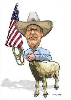 Caricature de Cliven Bundy (Crédits Donkey Hotey, licence Creative Commons)