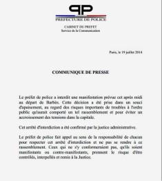 Communiqué de presse interdiction manifestation pro palestine (Crédits Préfecture de police de Paris, tous droits réservés)