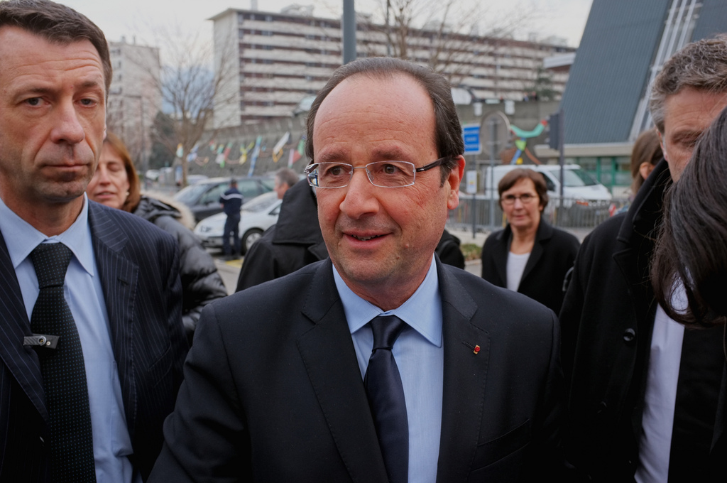François Hollande à Grenoble en 2013 (Crédits : Saly Bechsin, licence CC-BY-ND 2.0), via Flickr.