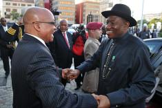 Le président Nigérian Goodluck Jonathan lors d'une visite en Afrique du Sud (Crédits GovernmentZA, licence Creative Commons)