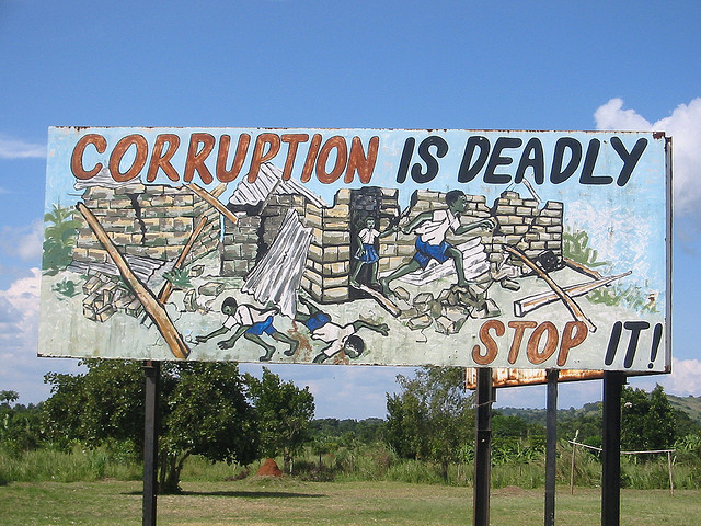 Ugandan anti-corruption sign credits futuratlasdotcom (CC BY 2.0)