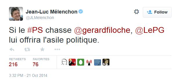 Tweet Mélenchon Total