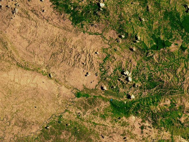 Frontière entre Haïti et la République Dominicaine - Licence photo de la NASA (wikiemdia commons)