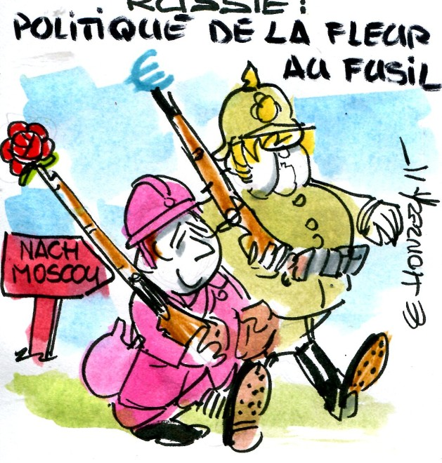 Merkel Hollande la fleur au fusil