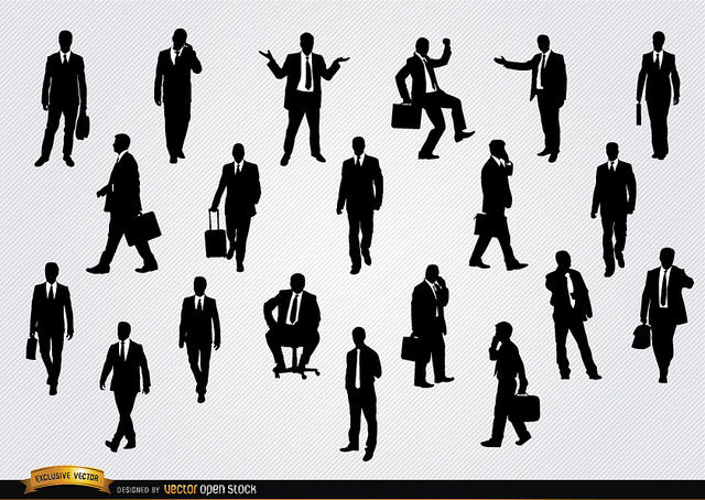 Businessmen silhouettes credits Vector open stock via Flickr ( (CC BY 2.0)