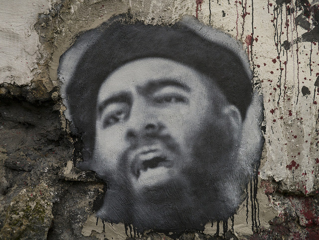 Abu Bakr al Baghdadi, painted portrait credits thierry ehrmann (CC BY 2.0)