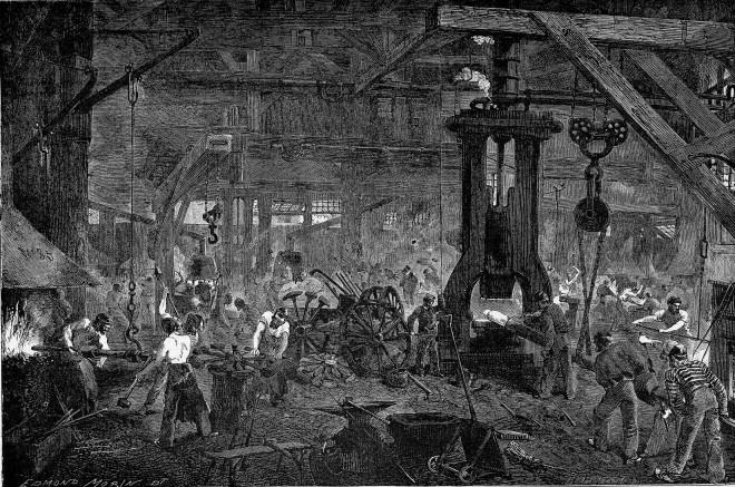 La forge des ateliers Cail à Grenelle, Le Monde illustré 1865