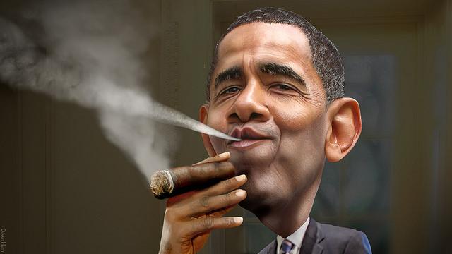 Obama enjoying a cuban credits DonkeyHotey WikiCommons ( (CC BY 2.0)