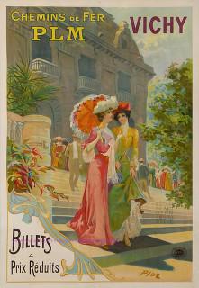 Affiche rétro des chemins de fer PLM Vichy