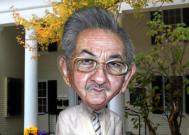 Raul Castro - caricature - DonkeyHotey (CC BY 2.0)