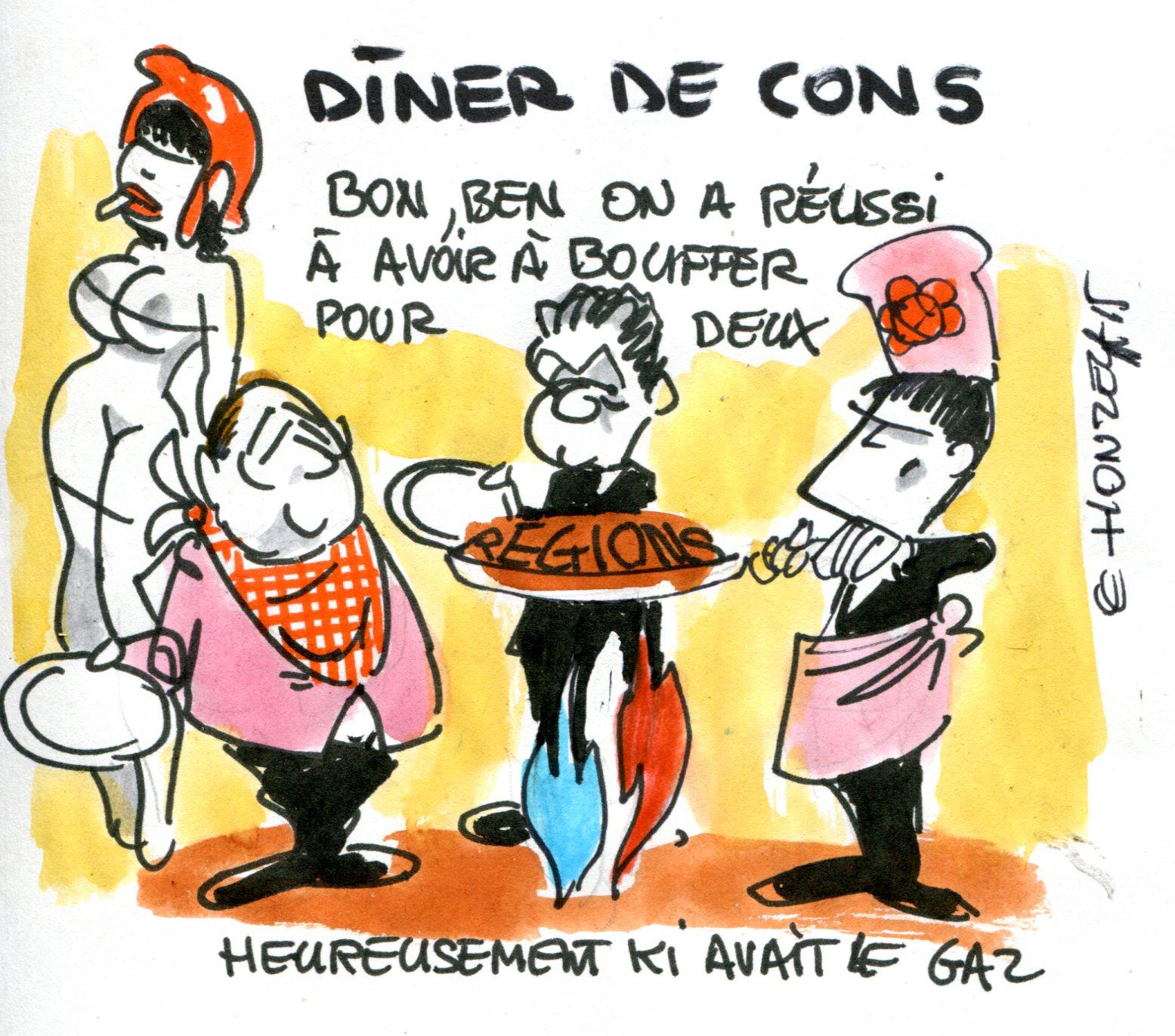 Dîner de cons - René Le Honzec - dessin politique091
