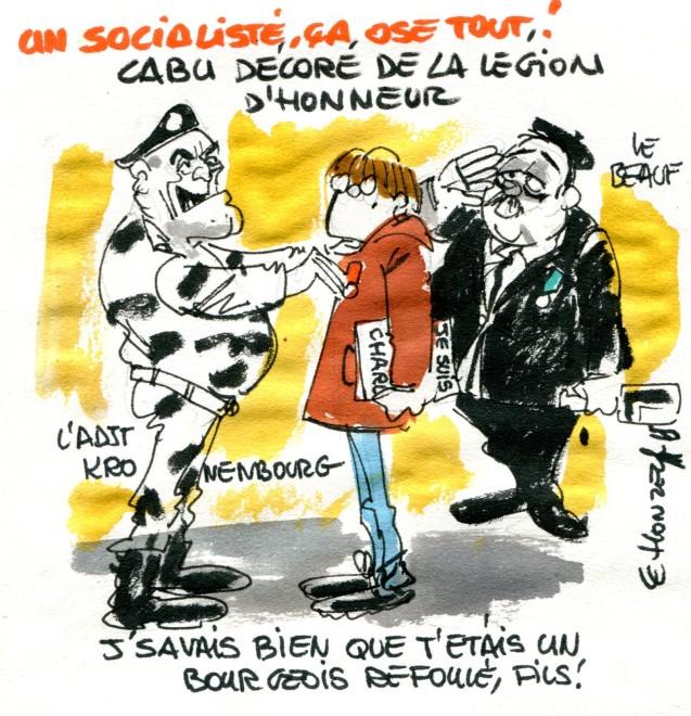 dessin politique134 Cabu Légion d'honneur René Le Honzec