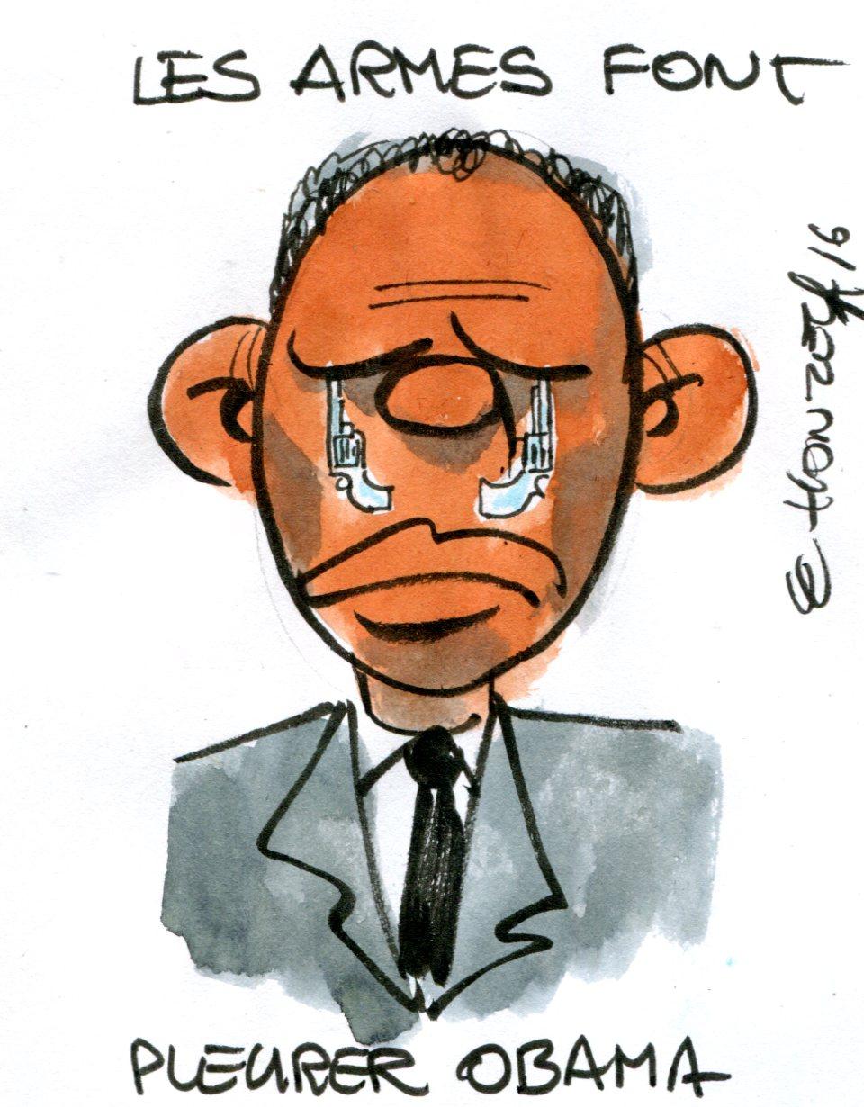 Barack Obama et les armes à feux (Crédits : René Le Honzec/Contrepoints.org, licence CC-BY 2.0)