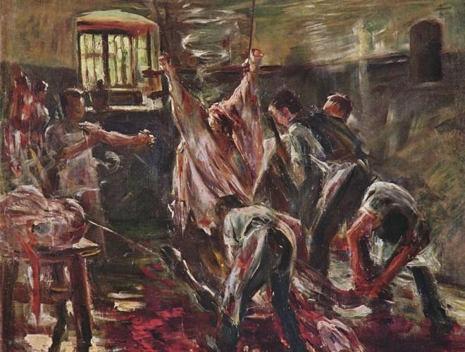 Lovis_Corinth-Dépouille d'un bovin dans un abattoir 1893-Domaine public