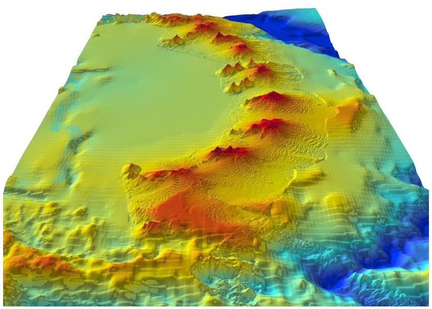 Volcans sous-marins visibles sur une image sonar 3-D nouvellement découverts près des Iles Sandwich du Sud proches de l'Antarctique (Crédits British Atlantic Survey, tous droits réservés)