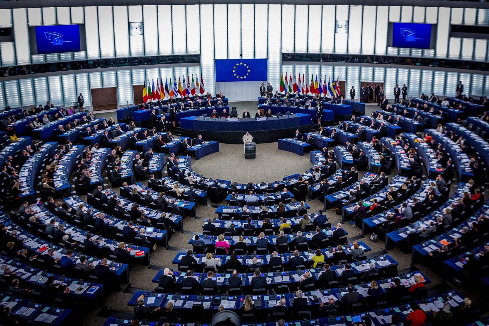 Parlement européen de Strasbourg le 25 novembre 2014 lors de la visite du Pape François (Crédits : Claude TRUONG-NGOC, licence CC-BY-SA 3.0), via Wikimedia.