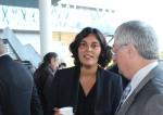 Myriam El Khomri, ministre du travail et de l'emploi, aux côtés du maire de Pierrefitte-sur-Seine Michel Fourcade