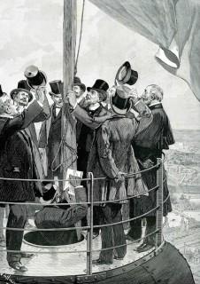 Gustave Eiffel hisse le drapeau sur la Tour, L'Illustration, 6 avril 1889