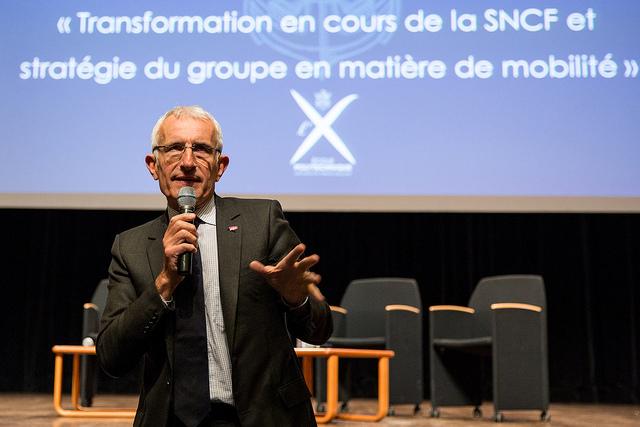 Conférence à l'Ecole polytechnique Guillaume Pepy crédits ecole Polytechnique - Université Paris Saclay (CC BY-SA 2.0)
