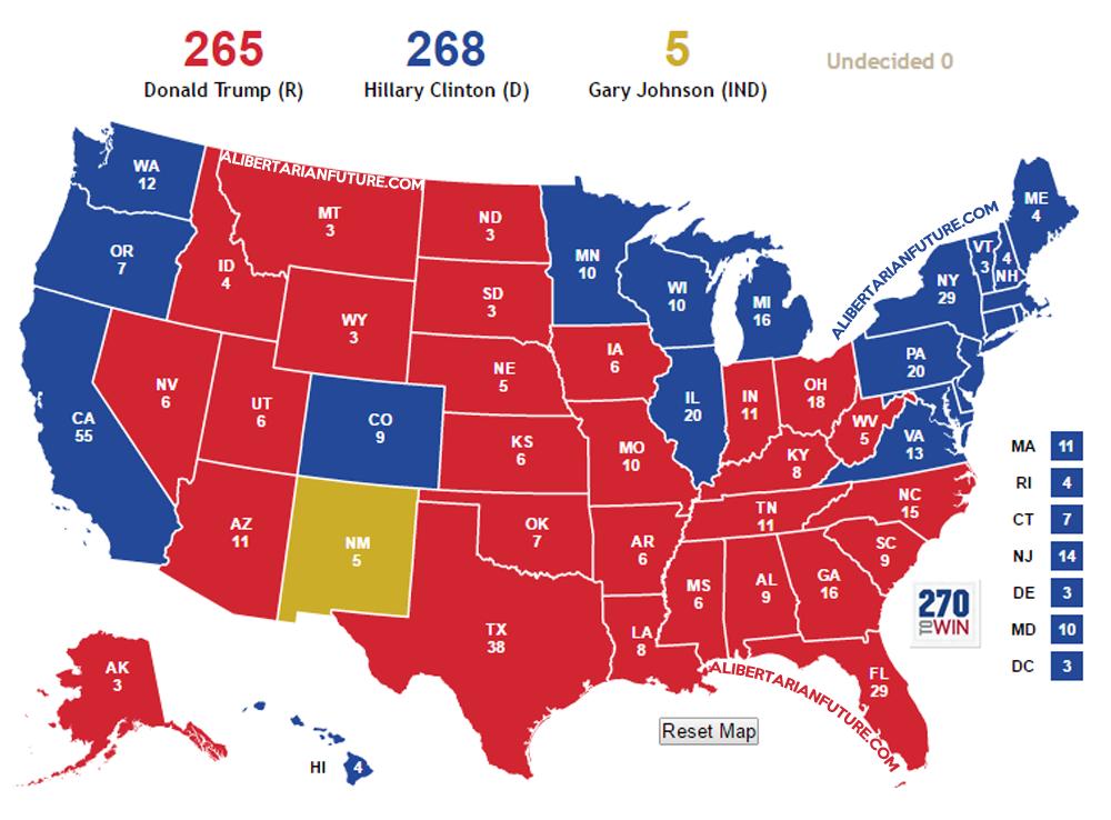 Résultats électoraux possibles de la présidentielle américaine de 2016 (Crédits Alibertarianfuture, tous droits réservés)
