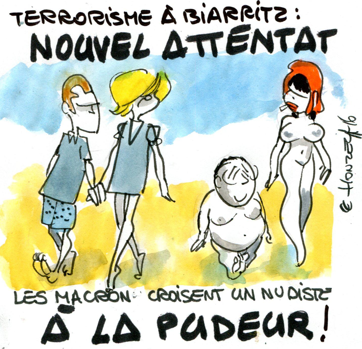 Emmanuel Macron croise un nudiste à Biarritz