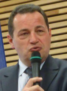 Jean-Frédéric Poisson lors d'une réunion publique à Prévessin-Moëns, le 21 mai 2016
