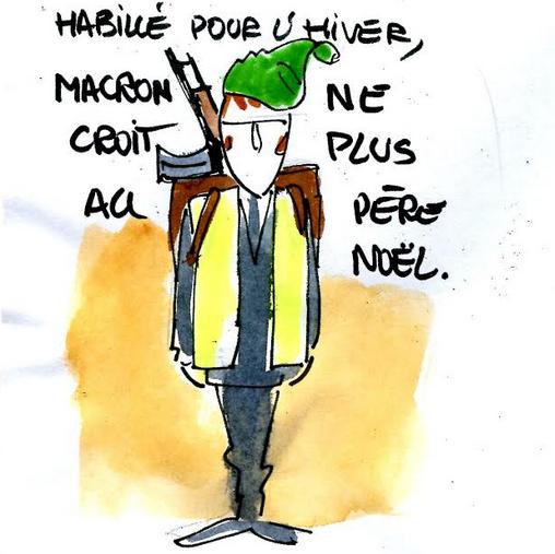 Macron habillé pour l'hiver