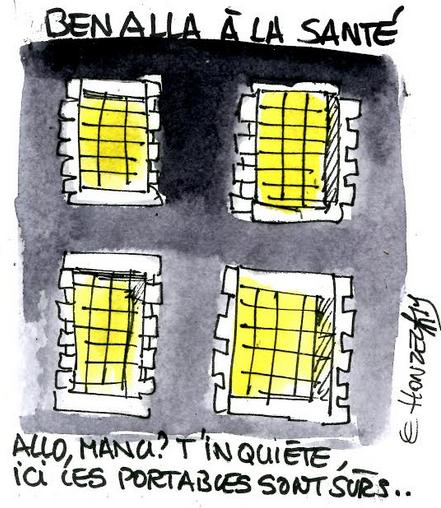 Benalla à la prison de la Santé