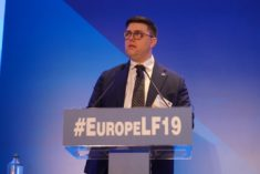 Thomas Palermo speaks during discussion pannel on the state of liberalisme in Europe in 2019 at the Europe Liberty Forum in Athens